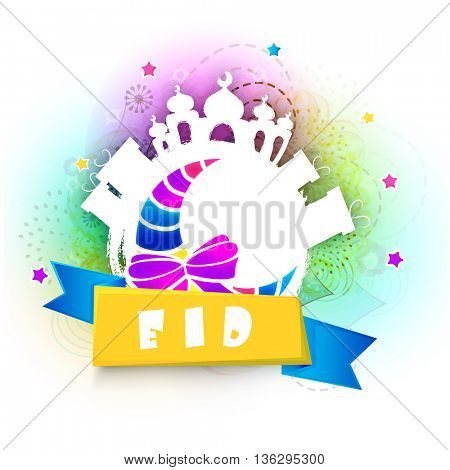 Set of creative elements as Glossy Crescent Moon, Stylish Text Eid on Ribbon, Gifts and Mosque, Beautiful Islamic Background, Elegant Greeting Card for Muslim Community Festivals celebration.