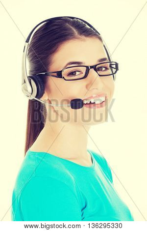 Young beautiful woman with headphones and microphone.