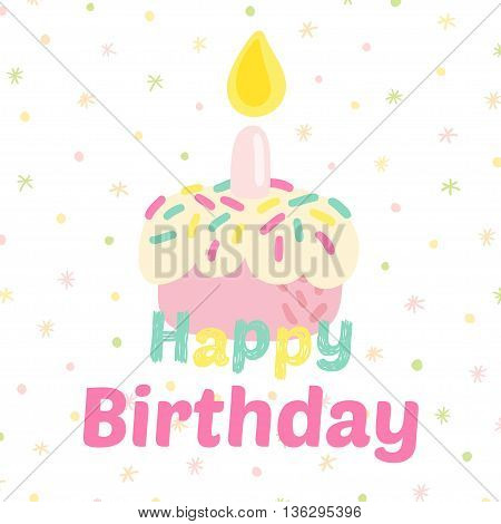 Birthday celebration cupcake vector icons. Party background