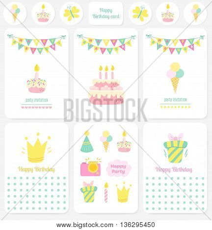 Happy Birthday cards, notes. Party Birthday vector background