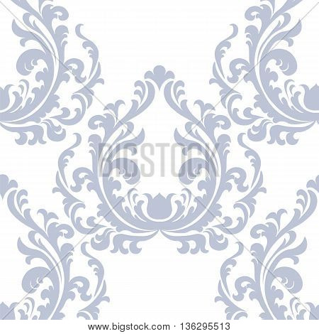 Vintage Floral ornament damask pattern. Elegant luxury texture for texture fabric backgrounds and invitation cards. Pastel blue color. Vector