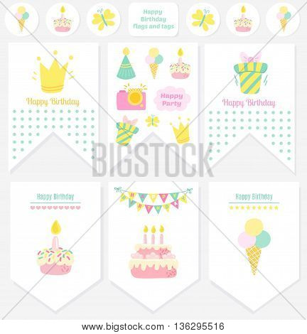 Happy Birthday flags and tags. Party Birthday vector background