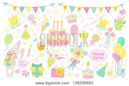 Happy birthday celebration attributes vector icons. Party background