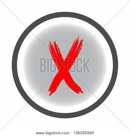 Cross red sign in gray circle. Isolated on white background .Cross red in gray symbol marks.Cross sign picture. Gray sticker vector illustration. Flat vector image. Vector illustration.