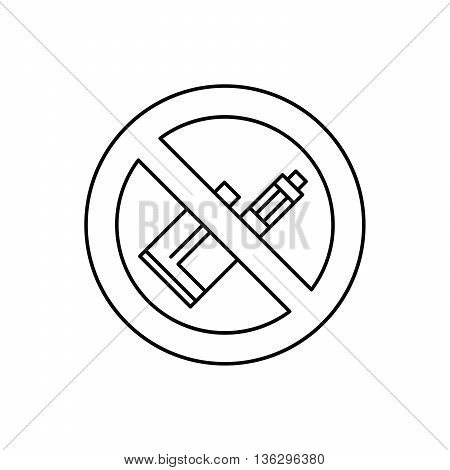 Vector illustration sign prohibiting Smoking electronic cigarettes Vape. For vape shop and vape service e-cigarette store public places isolated . E-cig icons.