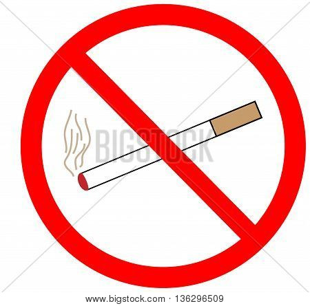 No smoking sign in red ring. Isolated on white background. No smoking symbol marks. Smoking ban sign picture. Red sticker vector illustration. Flat vector image. Vector illustration.