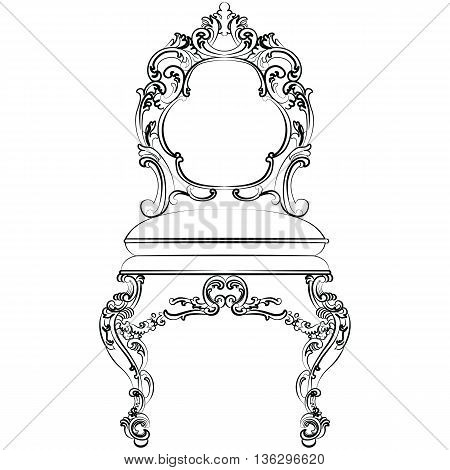 Baroque luxury style furniture. Chair set with luxurious rich ornaments. Vector sketch