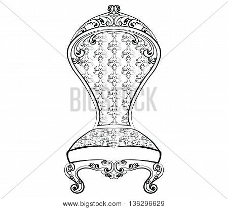 Royal chair with luxurious rich ornaments. Baroque Imperial luxury style furniture. Vector