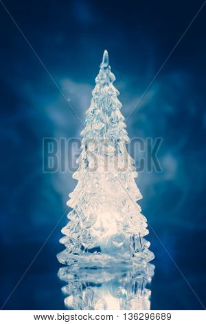 Christmas tree lamp light with reflection