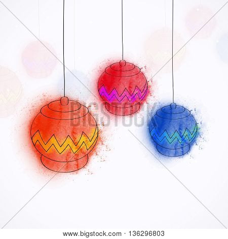 Creative colourful hanging lamps on white background for Islamic Festivals celebration.