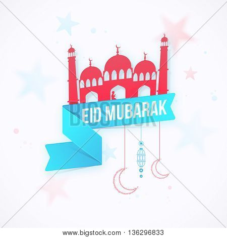 Creative Paper Mosque with Ribbon on stars decorated background for Muslim Community Holy Festival, Eid Mubarak celebration.