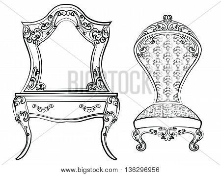 Dressing table and armchair. Original shape decorated with luxury ornaments. Elegant furniture with rich ornaments. Baroque Luxury style furniture. Vector