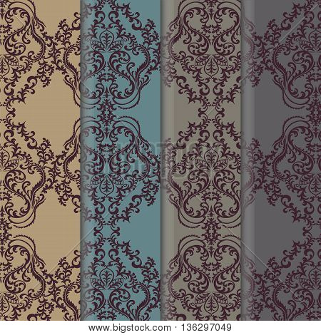 Vector floral damask ornament patterns set. Elegant luxury textures for textile fabrics or wallpapers backgrounds. Trendy colors