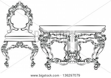 Baroque luxury style furniture. Table and chair set with luxurious rich ornaments. Vector sketch