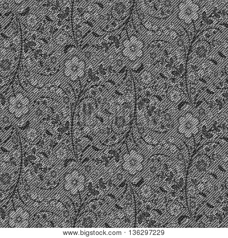 Realistic jeans seamless texture in gray colors with floral Khokhloma pattern. Denim background. Vector illustration