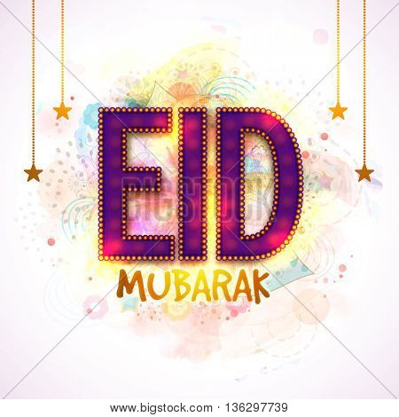 Beautiful Glowing Text Eid Mubarak with Hanging Golden Stars, Creative Eid Mubarak Typographical Background, Elegant Greeting Card or Invitation Card for Muslim Community Festival celebration.
