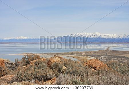 View from Antelope Island to Wasatch Front mountains, Utah