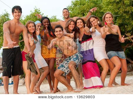 Happy group of friends at the beach