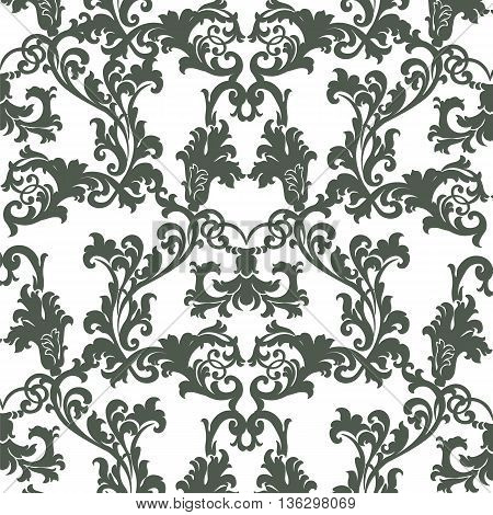 Vintage Vector Floral Baroque ornament damask pattern. Elegant luxury texture for texture fabric wallpapers backgrounds and invitation cards. Green color
