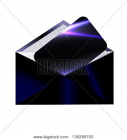 white background and the dark envelope with black card inside