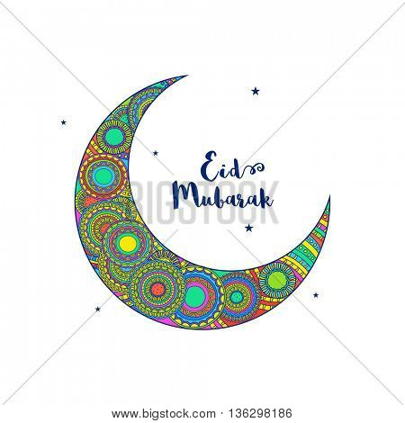 Beautiful Crescent Moon with traditional floral decoration on white background, Elegant greeting card design for Islamic Holy Festival, Eid Mubarak celebration.