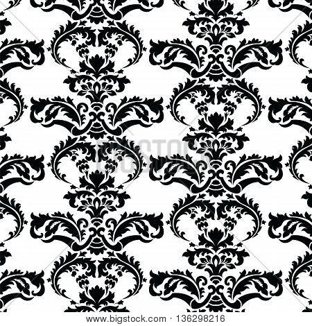 Vector floral damask pattern background. Royal Victorian texture. Classical luxury vintage damask ornament for wallpapers textile fabric wrapping. Delicate floral baroque template. Black color