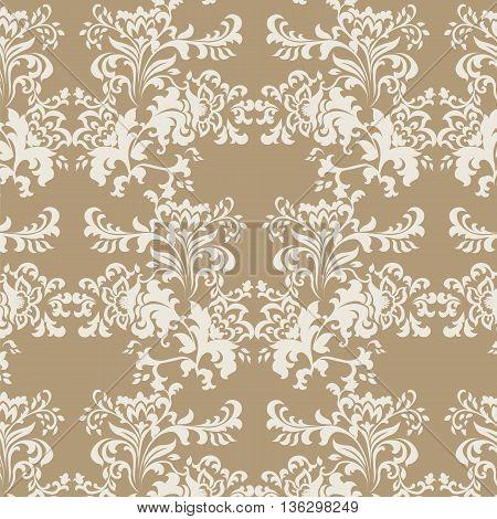 Vector floral damask baroque ornament pattern element. Elegant luxury texture for textile fabrics or backgrounds. Beige color