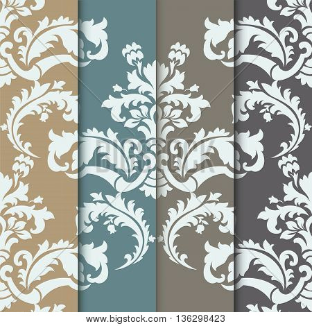 Vector damask pattern ornament set. Elegant luxury texture for wallpapers fabrics or texture backgrounds. Exquisite floral baroque elements. Trendy colors