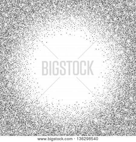 Silver glitter bright vector background. Silver sparkles shiny texture. Excellent for your greeting cards, luxury invitation, advertising, certificate.
