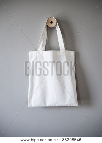 White mock up Canvas Bag on Grey Background