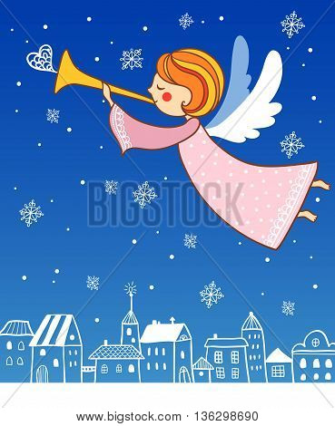 Childish Merry Christmas card with cartoon Fairy in the sky.