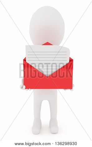3D Character Holding A Open Envelope With Lined Letter Inside It Concept