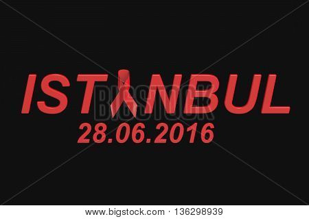 Istanbul attacks concept 3D rendering on black background