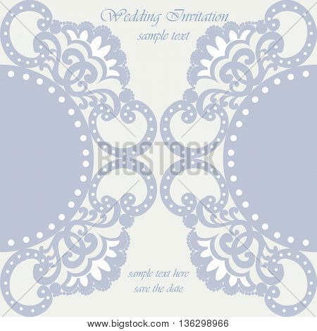 Vector invitation card ornamental lace with damask elements. Elegant lacy feather decoration greeting card wedding invitation or announcement template. Serenity blue. Vector