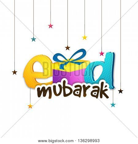 Creative Glossy Text Eid Mubarak with Gift Box on colourful hanging stars decorated background, Elegant Greeting Card design for Muslim Community Festival celebration.