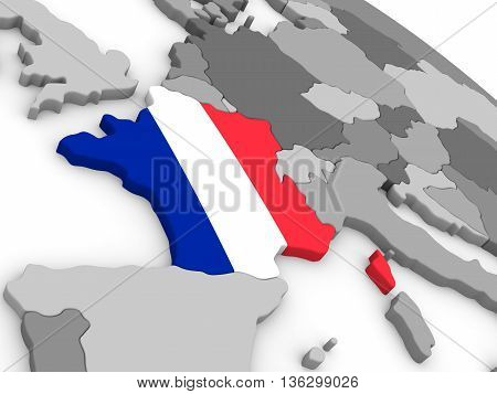 France On Globe With Flag