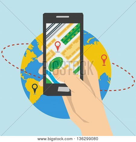 Vector concept mobile app navigation. Hand holds smartphone with city map gps navigator on planet globe with route background. Square web banner in flat style. Web infographics