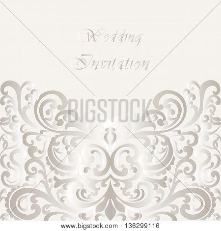 Wedding Invitation card with lace shinny ornament. Gold cream color. Vector
