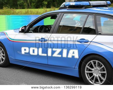 Italian Police Car With Great Written Polizia With Blue Sirens