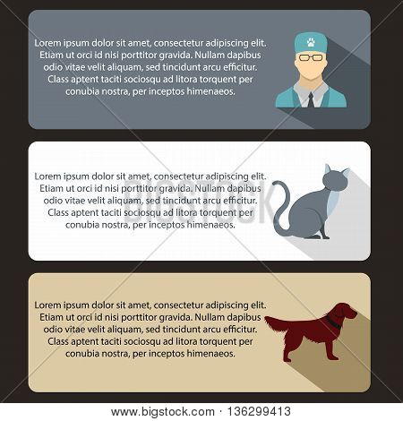 Pet care vet clinic banners set in flat style for any design
