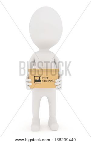 3D Character Holding A Free Shipping Text Illustrated Cardboard Carton Box In Hand Concept