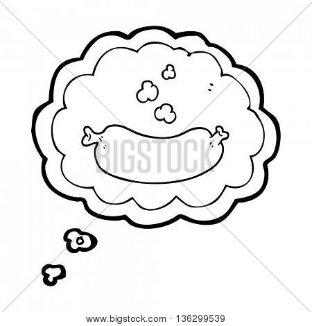 freehand drawn thought bubble cartoon hot sausage