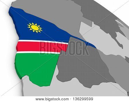 Namibia On Globe With Flag