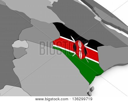 Kenya On Globe With Flag