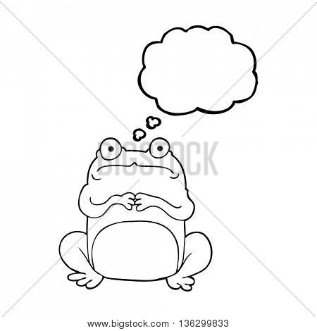freehand drawn thought bubble cartoon nervous frog