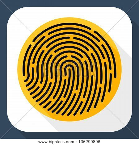 Vector Fingerprint Icon. Fingerprint Simple Icon In Flat Style With Long Shadow