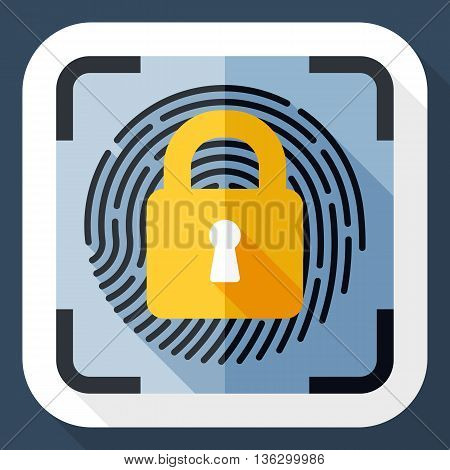 Vector Fingerprint Scanner Locked Icon. Fingerprint Scanner Locked Simple Icon In Flat Style With Lo