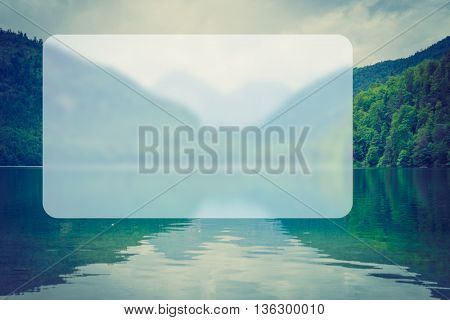Mountain lake in foggy day, Banner Blank Board Message Copy-space Concept
