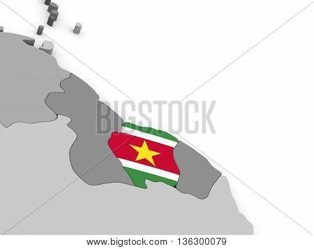 Suriname On Globe With Flag