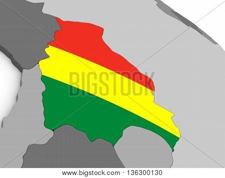 Bolivia On Globe With Flag